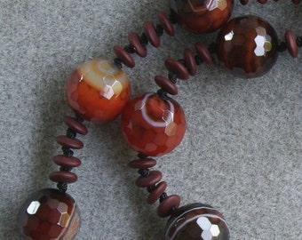 Bold Bordeaux necklace with striped agate, Czech glass, carnelian and sterling silver