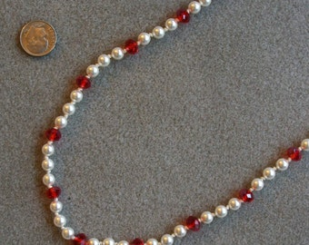 Candy Cane handknotted pearl necklace with Swarovski pearls, crystal, and sterling silver
