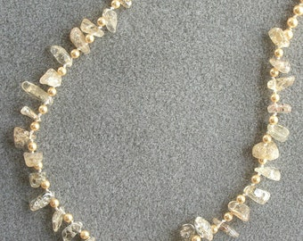 Lemon Ice necklace with iceflake quartz, Swarovski pearls, Swarovski crystal and fine silver