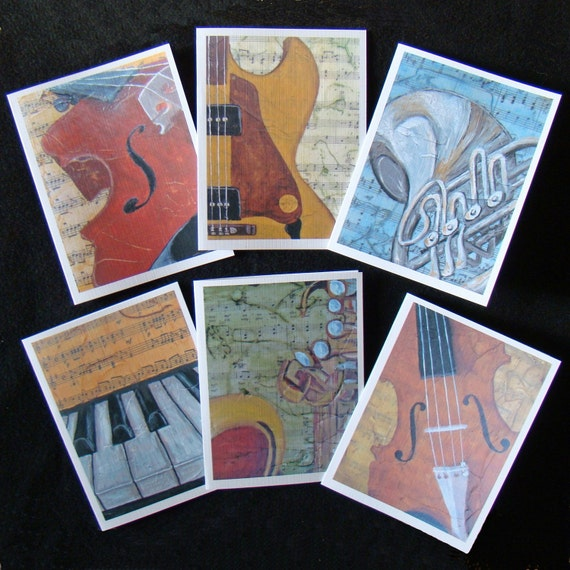 Music Instruments Note Cards - Boxed Set of 6