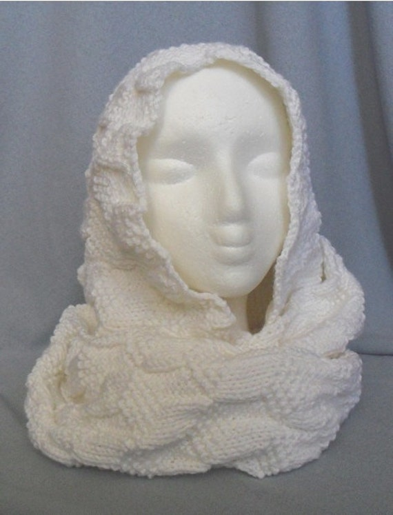 Knitted cubes headscarf / hood KNITTING PATTERN