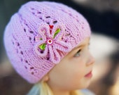 Girl's Knitted Beanie / Hat with Flower Brooch by Sheeps Clothing