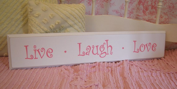 Live Laugh Love SIGN HAND PAINTED Shabby Cottage Style