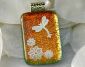 Orange Dragonfly Fused Glass Pendant  000811 - GetGlassy