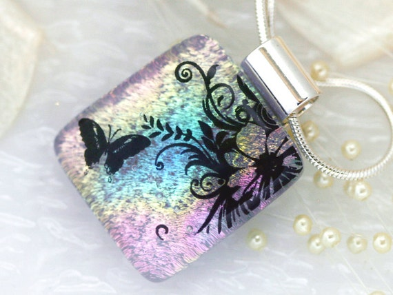 Dichroic Fused Glass Pendant - Butterfly & Flower 00931
