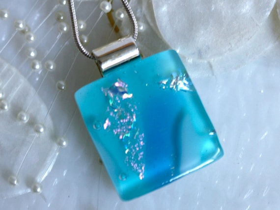 Dichroic Fused Glass Pendant, Fused Glass Jewelry, Fused Glass Necklace - Aqua Waters 00959