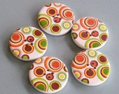 5 Giant Earthy Circle Print Buttons