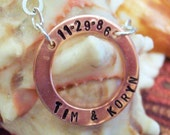 The Family Circle - Copper Collection Circle Hand Stamped Pendant - Silver Chain Necklace