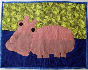 Wading Hippo Wall Hanging by Made Marion