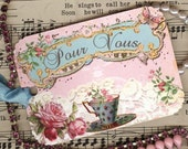 Gift Tags ,  French Style , Pour Vous Tags , Tea Cup Tags , Pink and Aqua , Roses and Lace , Tea Party Tags , Aqua Seam Binding