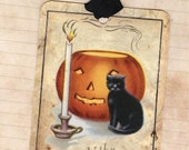 Vintage Style Halloween Black Cat and Pumpkin tags