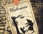 Halloween Dancing Witch and Cat tags