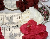 1 Crinkled Seam Binding -  VINTAGE VALENTINE - 18 YARDS -  Wine Ribbon - Red Ribbon -  Cream Ribbon , Bluebird Lane