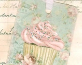 Gift Tags -  Cupcakes  - Patisserie - Aqua Tags - Pink Cupcake