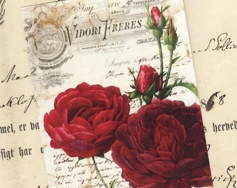 Rose Gift Tags ,  French Tags , Vintage Style , Red Roses , Romantic Tags  by Bluebird Lane