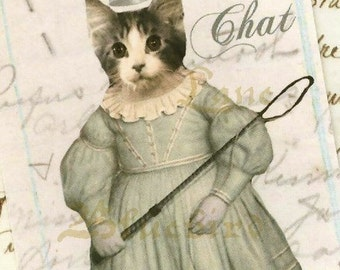 French Style Shabby Gift Tags Le Chat  Cat by Bluebird Lane