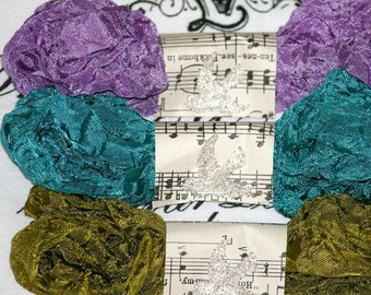 Seam Binding Crinkled Tapestry Olive Purple Teal 18 yards