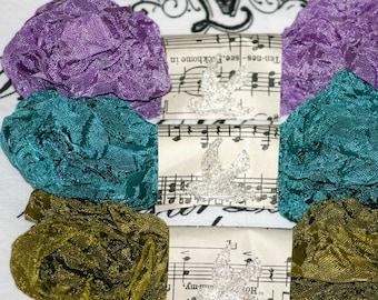Crinkled Seam Binding -   TAPESTRY -  Olive Green -  Purple -  Teal -  15 yards - Vintage Style Ribbon , Embellishment