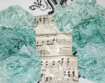 Seam Binding Ribbon Crinkled SERENE WATERS  18 YARDS Aquas Blues