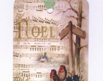 Christmas Tags , Noel , Birds  , Shabby Style , Vintage  Gift Tags , Holly