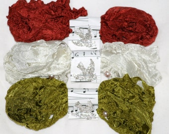 Seam Binding ,  Crinkled Ribbon ,  18 Yards ,  FALL GATHERING ,  Olive , Light Beige , Dark  Rust , Supplies