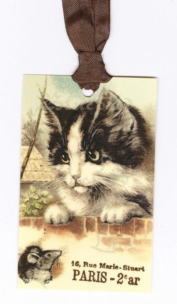 Gift Tags -  Vintage French Kitten -  Cat Tags -  Mouse by Bluebird Lane , Vintage Cat Tags , Cat and Mouse Gift Tags