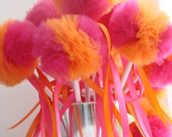 Tulle Wands MINI Wee Whimsy Wishing Wands - Birthday Party Set of 12