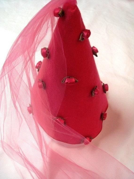 Precious  Raspberry Pink Peaked Princess Hat