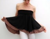 fluttery mini circle skirt/ strapless top black chiffon and dusty pink jersey