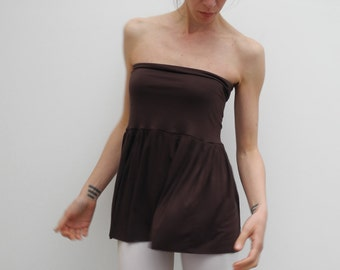 Chocolate brown jersey skirt - strapless top