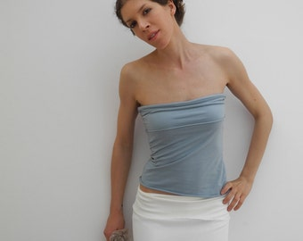Tube tank top, fitted strapless top, powder light blue jersey