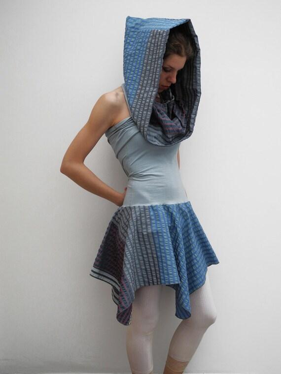 Mini hooded dress, square-circle skirt, halter dress, light powder blue