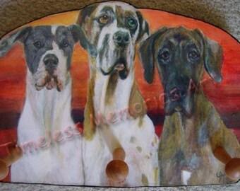 Dog leash holder Great Dane trio Dog  wood Key Leash Rack Holder Gentle Giant doggies