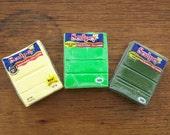 3 Polymer Clay Blocks Sculpey Brand, Sunshine, Lime, Leaf Green