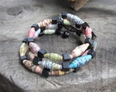 Hand Rolled Paper Bead and Wood Bead Memory Wire Bracelet (3strand)