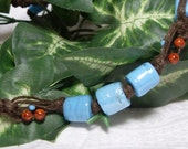 turquoise and brown ceramic hemp necklace