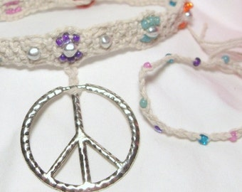 Reduced and LAST CHANCE peace sign and flower pastel cotton choker with FREE bracelet