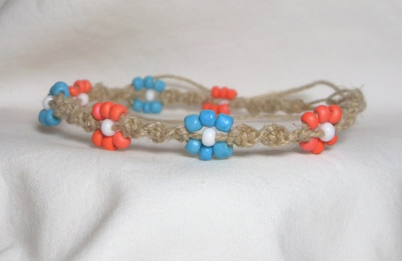 coral and turquoise spiral hemp anklet