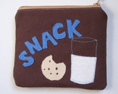 Applique Snack Money zip pouch wallet