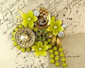Vintage Brooch Bright Yellow Vintage chain flower Collage Pin