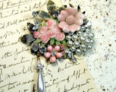 Soft Pink and Pearls Vintage Collage Brooch