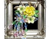 Vintage rhinestone collage brooch Keep the flowers blooming