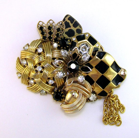 Vintage Brooch Bright  Black and Bold Collage type