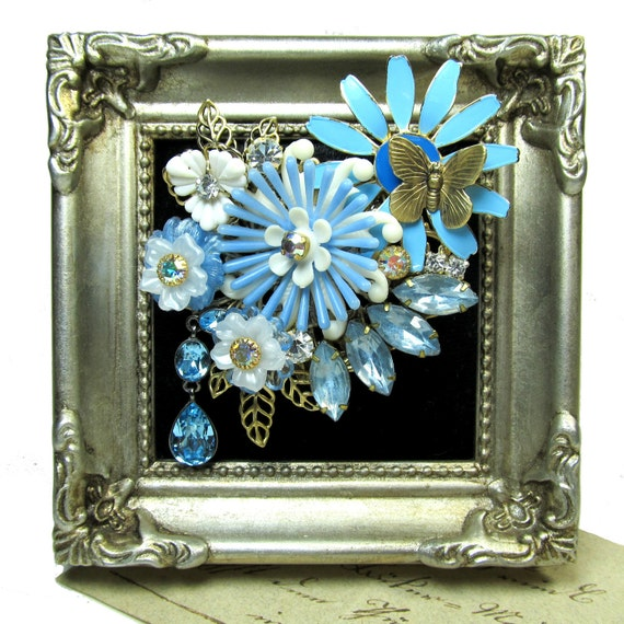 Vintage Collage Brooch Upcycled Blue Blooms