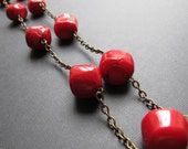 Apples...Coral and Brass Necklace
