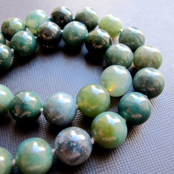Mossy...Moss Agate Knotted Necklace