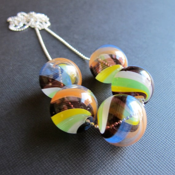 Carnivale...Hand Blown Glass Sterling Silver Necklace
