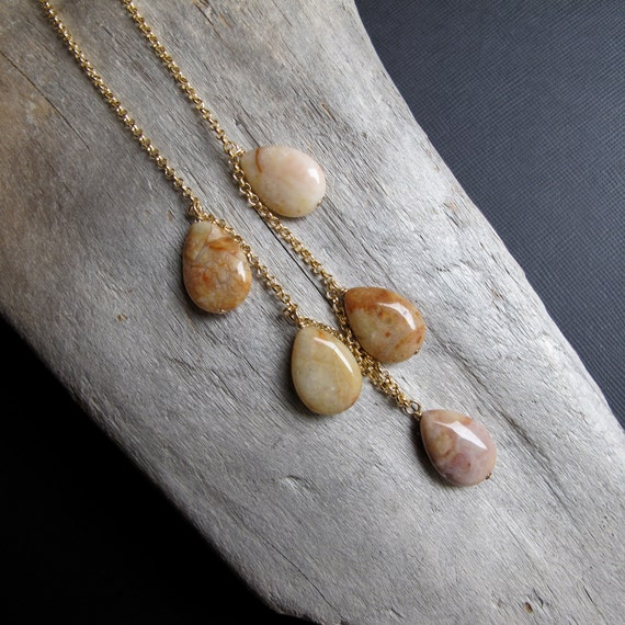 Moroccan Agate and 14k Gold Filled Chain Necklace