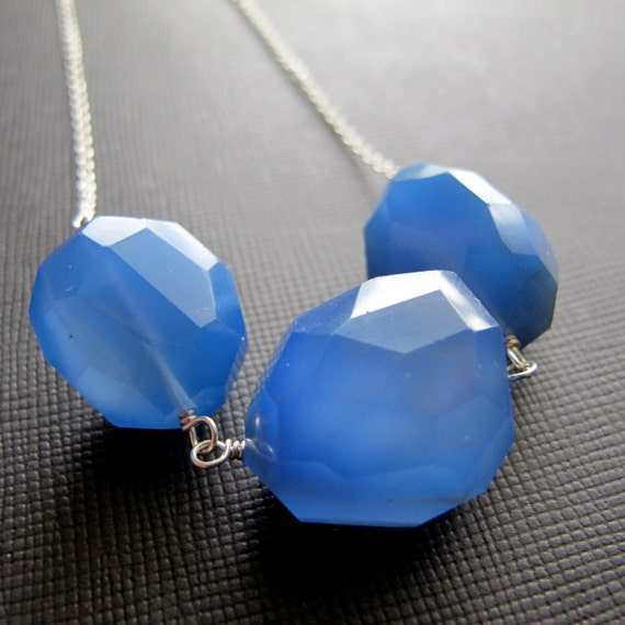 Blue Chalcedony Nugget Necklace Sterling Silver Chain...Cobalt