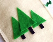reserved for sharon... forest trees Holiday eco felt  stocking in cream and green